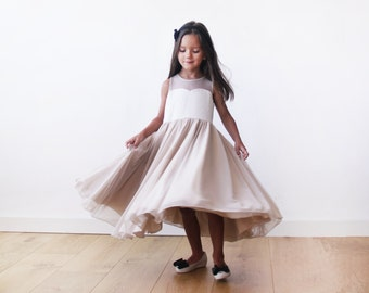 Sweetheart Champagne girls dress, Champagne flower girl twirl dress 5005