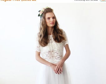 Spring Sale Lace Ivory short sleeves top , Ivory bridal lace top 2037.