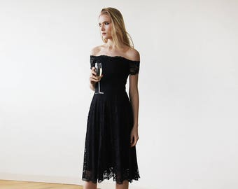 Black Off-The-Shoulder Short Sleeves Lace Midi Dress 1158