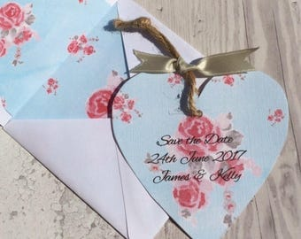 Vintage Tea Save the Date Card with lined envelope