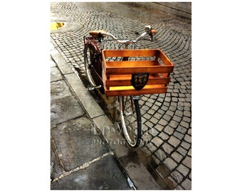 Italy Photography, Delivery Bike, Vintage Bicycle, Street Photography, Midcentury Modern, Florence