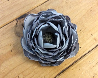 Slate Blue Fabric Flower