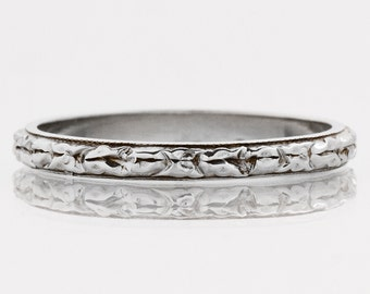 "Antique Wedding Band - Antique 18k White Gold ""Belais"" Etched Wedding Band"