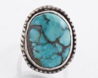 Vintage Ring - Vintage Sterling Silver Large Turquoise Ring