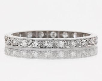 Antique Wedding Band - Antique Platinum Diamond Eternity Band
