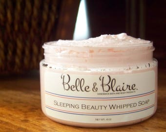 Sleeping Beauty Whipped Soap/ Sugar Scrub- Apple Blossom, Rose Petals, Lily of the Valley- 4oz