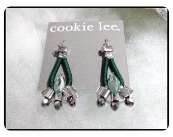 Modernistic Green Dangling Cookie Lee Earrings - Large Dangling Pierced Earrings   -   E6013a-020517002