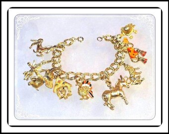 Goldtone Charm  Bracelet  - Chock' Full of Golden Charms  Brac-1961a-042117010