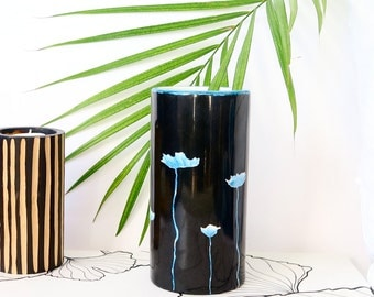 Porcelain vase, lotus flowers, tropical style, hand painted, unique piece, made in France, original gift