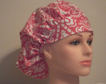 Red and White Christmas Print Bouffant Surgical Hat