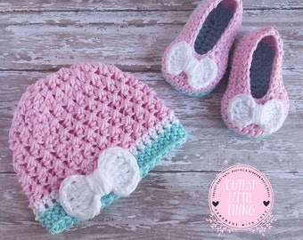 Crochet Baby Set, Crochet Hat and Booties, Crochet Baby Girl Booties, Crochet Baby Girl Hat,  Spring Crochet Set, Cute Colors, Baby Set