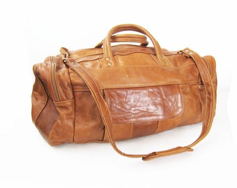 Leather Duffel Bag / Brown Leather Weekender Bag / Overnight Bag / Leather Luggage