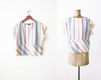 70s blouse / vintage 70s top / striped shirt / bohemian blouse / multicolor textured stripe womens top M L