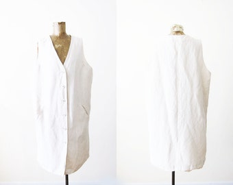 Linen Jumper / 90s Cream Linen Dress / Button Front Dress / Minimalist Clothing / Large