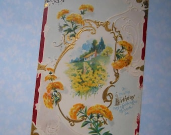 ON SALE Antique Cottage Happy Birthday Greeting Edwardian Post Card Postcard