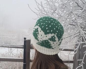Knitting pattern - Wintry Woods Hat, Knit Hat Pattern, Knit Beanie Pattern, Colorwork Hat Pattern, Winter Hat Pattern, stranded colorwork