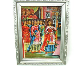 Vintage wooden picture frame with glass Silver painted gesso ornaments Print icon picture 40s