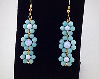Gold Earrings gemstone beaded wire wrapped chandelier one of a kind