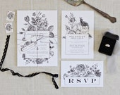 Vintage Botanical Inspired Wedding Invitations | Boho Weddings | Indie Weddings | Floral Invitations | Wedding Stationery