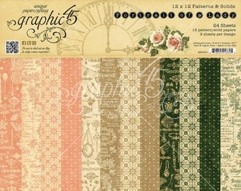 """Graphic 45 """"Portrait of a Lady"""" 12 x 12 Patterns & Solids Pad"""
