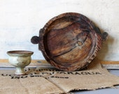 Vintage wooden tray, farmhouse decor, primitive, hand carved wooden rustic tray.