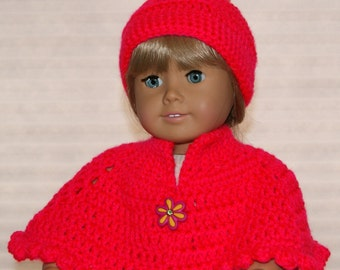 "Doll Clothing for 18"" doll - AG Poncho and Beanie with Pompom - Hand crocheted doll accessory - Neon Pink - Doll Outfit"