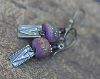Rustic Sterling Silver earrings . artisan lamp work . heart medal . delicate minimalist . boho jewelry . oxidized metal .  fine boho . short