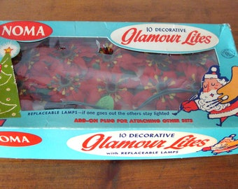 1950's Noma Glamour String of Lites Christmas Pointsettia Lights, Never out of Box! Lower Price