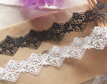 black  guipure lace trim, off white lace trimming, ivory lace trim with scallops, one yard