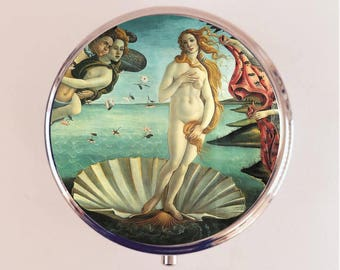 Birth of Venus Pill Box Case Pillbox Holder Trinket Stash Box Botticelli Fine Art Painting Renaissance