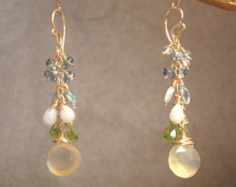Apatite, topaz, peridot, prehnite earrings Princess 234