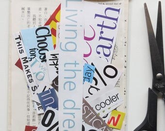 Mini collage kit with TEXT, paper goodies, mag clippings, mini art kit, craft supplies, scrapbooking, journaling
