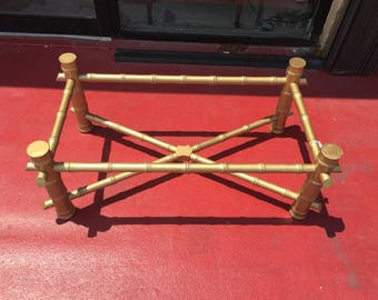 Gold Faux Bamboo Coffee Table Hollywood Regency Style