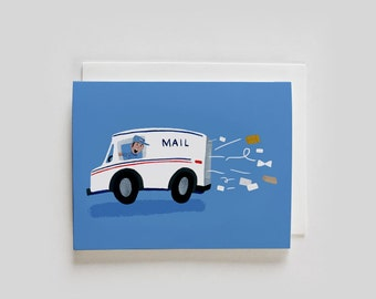 MAIL TRUCK Delivery Greeting Card