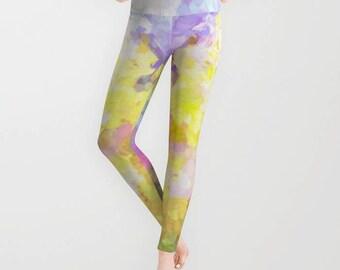 Legging | Tights | Exercise Wear Yoga Pants | Running Leggings | Women's Athletic Wear | Abstract Pastel Print | Teen Girls Fashion