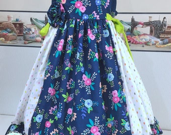 Blue Roses Spring~Time  Dress ~ Flower Girl Dress ~ Easter Dress ~ Birthday Party ~ Summer Dress  ~ Dress Tunic ~ Bows Adjustable Sizing