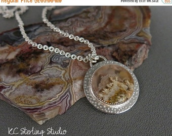 20% OFF Holiday Sale - Graveyard point plume agate and sterling silver pendant necklace - metalsmith silversmith