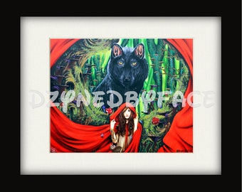 Red Riding Hood Art Print, wolf, red, nature, fantasy, fairytale