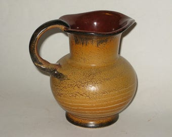 Vintage Hand Thrown Pottery Small Glazed Clay Pitcher Fun Vase or Utensil Container