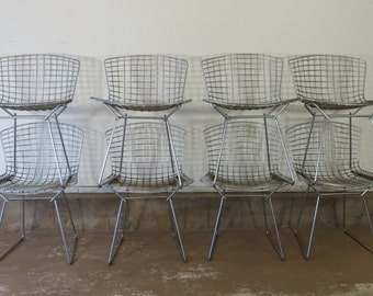 Set of Eight Vintage Bertoia Side Chairs Later Style