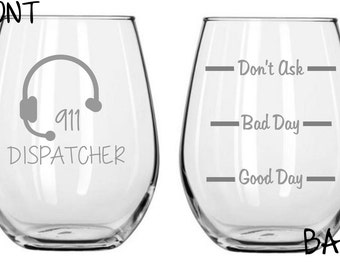 911 Dispatcher Sand Carved Glass FREE Personalization