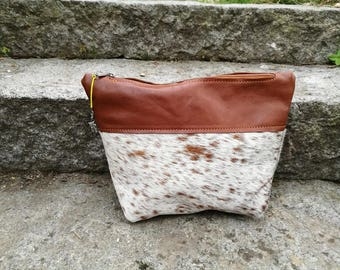 Toiletry bag made of cowhide and leather brown-white, KUHIE®