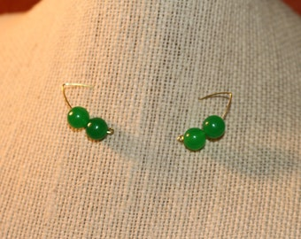 Green Jade Stone and Gold Hook Curved Dangle Drop Earrings
