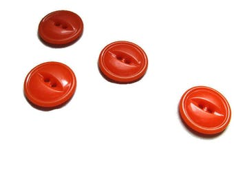 4 orange buttons, classic eye and ridge design, 11/16th inch
