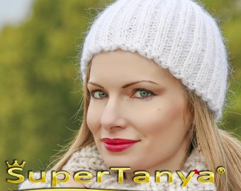 SUPERTANYA white mohair beanie fuzzy handmade hat by SuperTanya