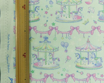 Classical and Modern Japanese Fabric  / Merry Go Round Oxford Fabric Bluish Green - 50cm x 110cm