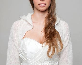 Wedding bolero with hoodie TOSCA - perfect for Boho weddings in off white, ivory and other colours