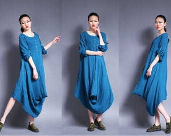2 wears dress cotton dress linen dress with long sleeves spring dress
