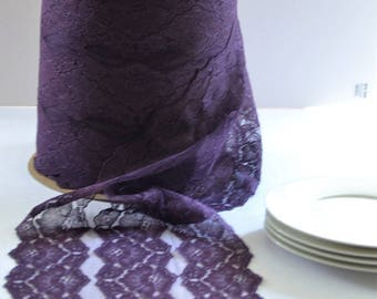 """100 Yard roll of PLUM LACE 10"""" wide (4 of 25 yard rolls)/Free Color Sample cutting available /New Color/Plum lace table runner lace/ Wedding"""