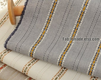 Stripes Fabric Jacquard Vintage Stripes Cotton In Denim Blue Off White Khaki- 1/2 yard